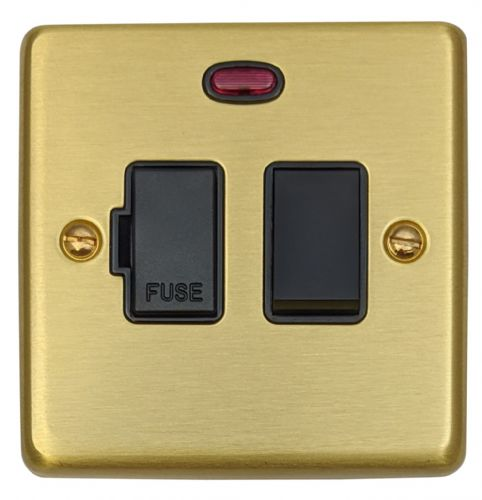 G&H CSB27B Standard Plate Satin Brushed Brass 1 Gang Fused Spur 13A Switched & Neon